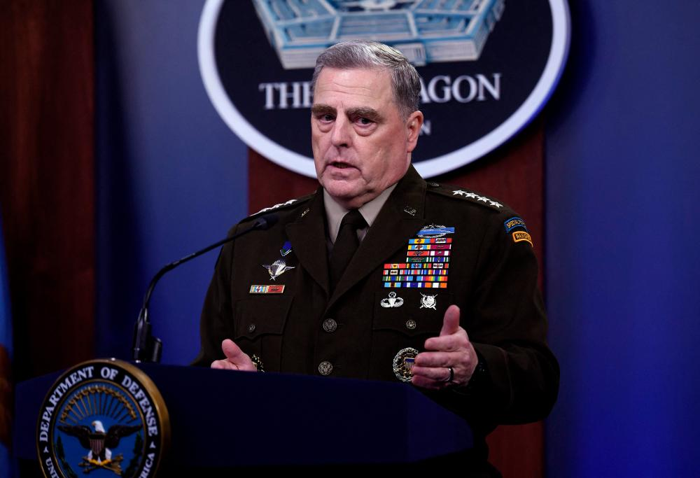 Chairman of the Joint Chiefs of Staff, General Mark Milley, holds a press conference on July 21, 2021, at The Pentagon in Washington, DC. -AFP