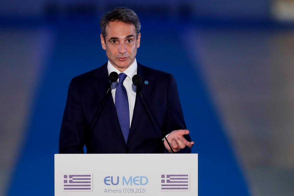 Greek Prime Minister Kyriakos Mitsotakis delivers a statement during the 8th MED7 Mediterranean countries summit, in Athens, Greece, September 17, 2021. REUTERSpix