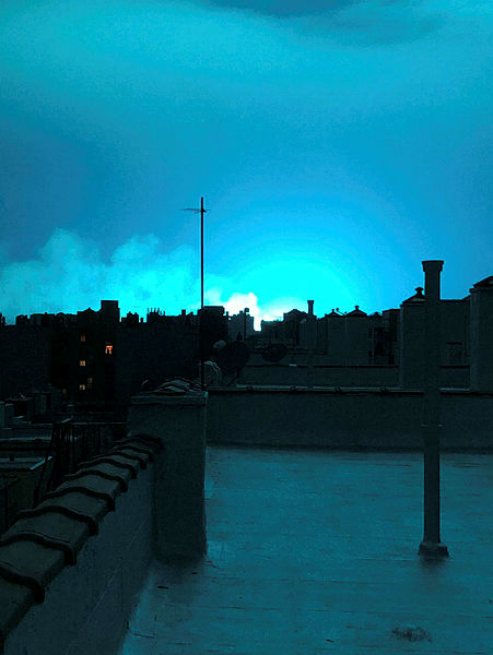 Bright blue light is seen after a transformer explosion on Thursday at an electric power station in the New York City borough of Queens, US, in this picture obtained from social media on Dec 28, 2018. — Reuters