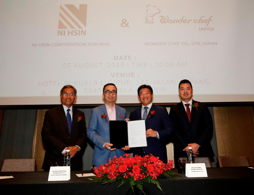 From left: Ni Hsin Group chairman Sofiyan Yahya, Khoo, Wonder chef Co Ltd president and CEO Itoh Akihiro and product section manager Izawa Shingo during the signing ceremony in Kuala Lumpur today.