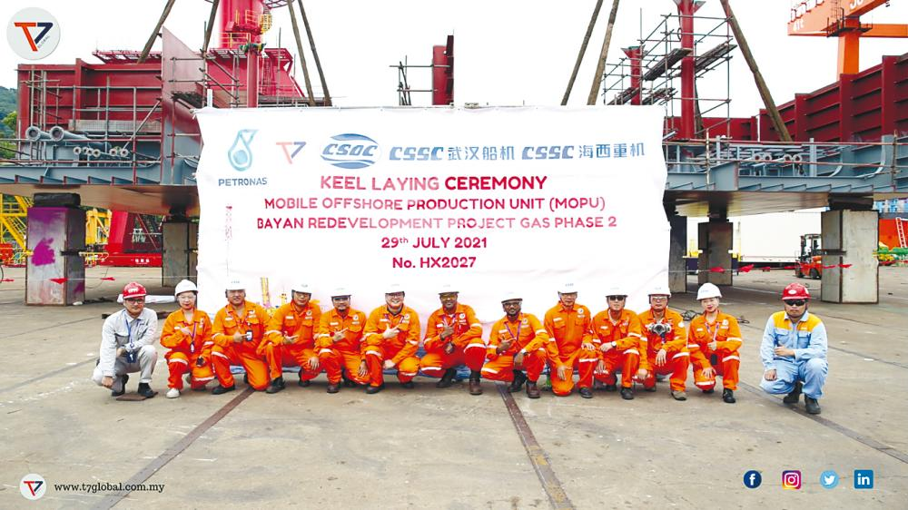 T7 Global's Bayan MOPU project team at the shipyard in Qingdao, China, for the keel-laying ceremony.