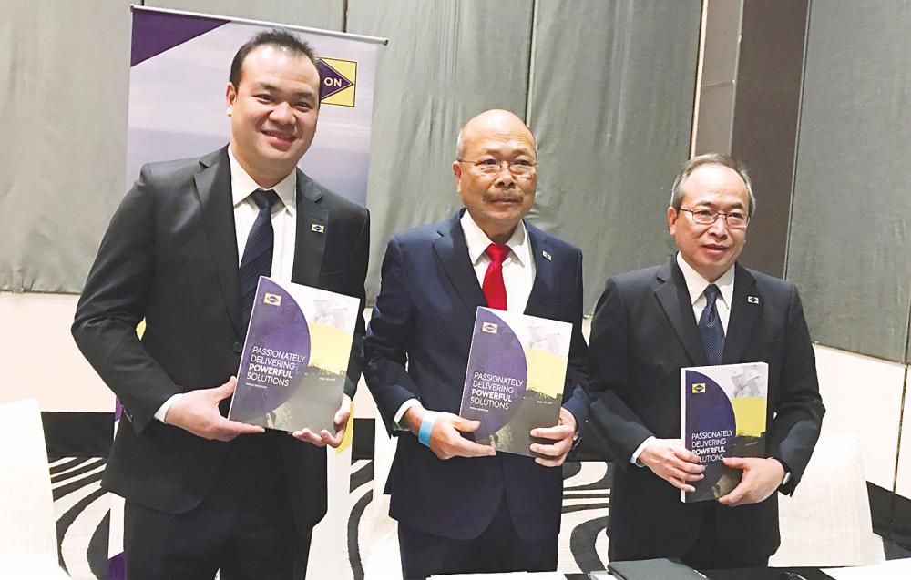 From left: Lim, group executive chairman Lim Han Weng and non-executive director Lim Han Joeh at a press conference after Yinson's AGM today. – BERNAMAPIX