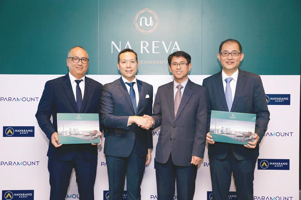 From left: Navarang Asset COO Onkarit Phromyothi, Apipu, Chew and Paramount Property CEO Beh Chun Chong at the signing ceremony in Bangkok.