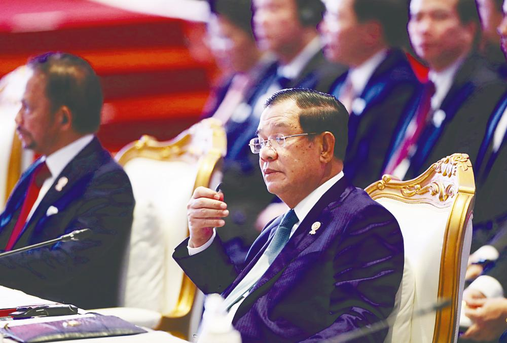 Cambodia's Prime Minister Hun Sen attends the Asean-China Summit on the sidelines of the 35th Asean Summit in Bangkok on Sunday. – Reuterspix