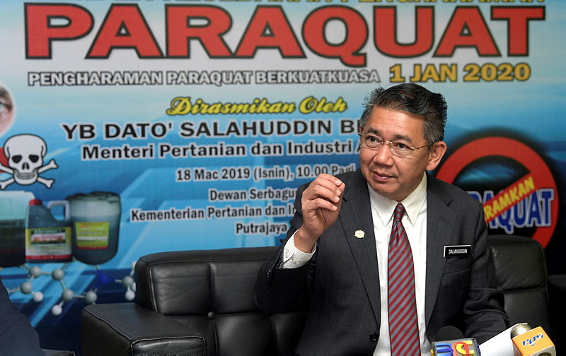 Agriculture and Agro-Based Industry Minister Datuk Salahuddin Ayub speaks at a pesticide and fertiliser control campaign , in Putrajaya, on March 18, 2019. — Bernama