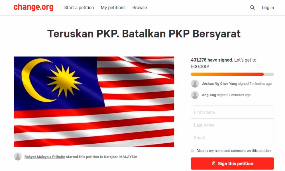 Screenshot of the petition.