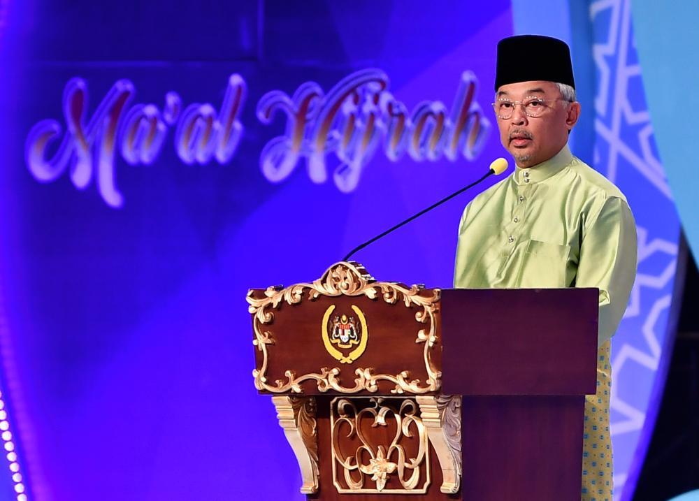 Yang di-Pertuan Agong Al-Sultan Abdullah Ri'ayatuddin Al-Mustafa Billah Shah gives a speech at the national-level Maal Hijrah in conjunction with the Maal Hijrah 1441H celebration. - Bernama