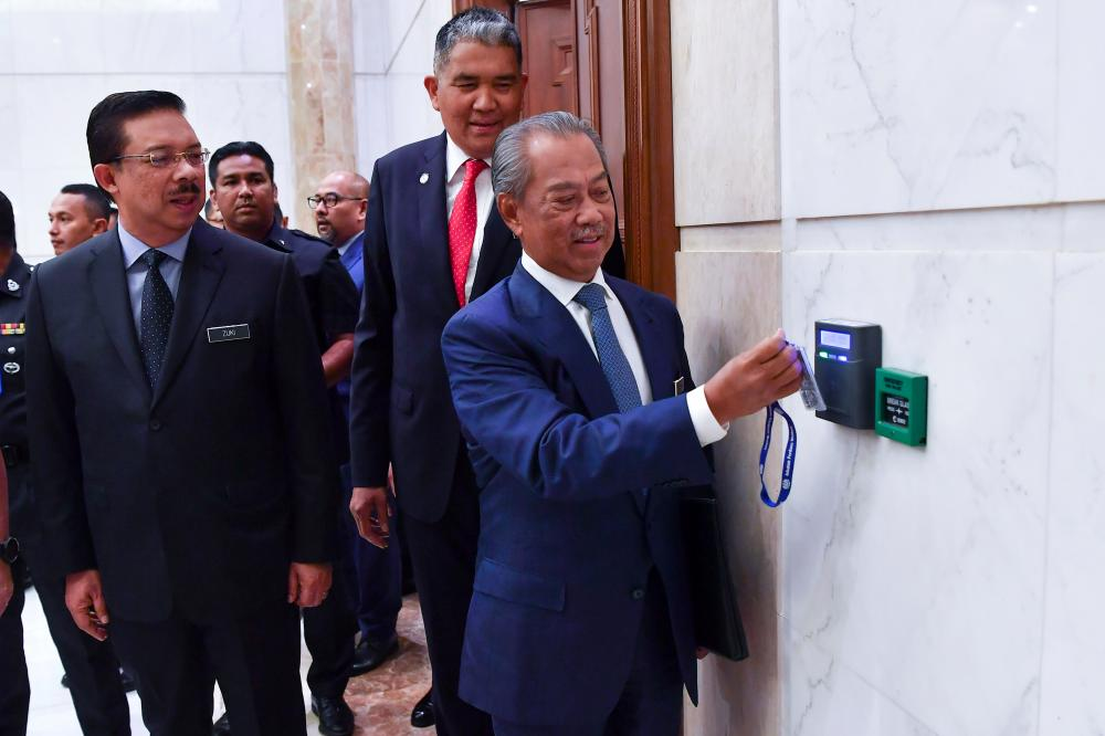 Prime Minister Tan Sri Muhyiddin Yassin who began his first day in office today at Perdana Putra. — Bernama