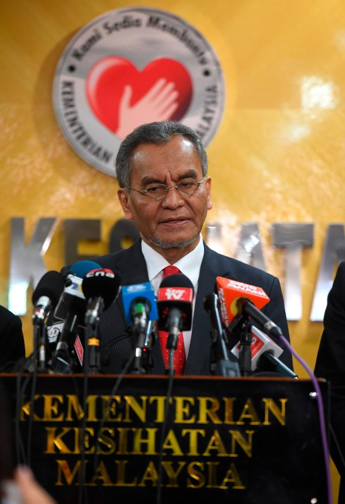 Health Minister Datuk Seri Dr Dzulkefly Ahmad during a press conference to update on the coronavirus situation at the Ministry of Health today. - Bernama