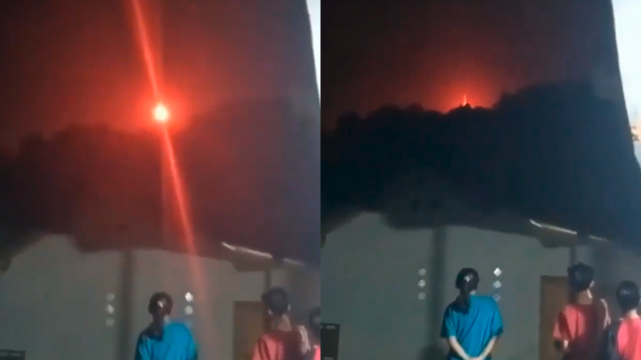 Locals mystified by sudden appearance of red fireball in the sky
