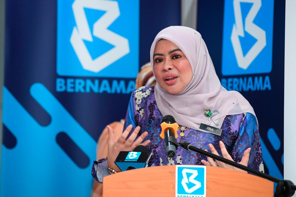 Women, Family and Community Development Minister Datuk Seri Rina Mohd Harun delivering a speech during the Malaysian National News Agency (Bernama) Creative Arts Launch Ceremony in conjunction with World Autism Day 2021 at Wisma Bernama today. — Bernama