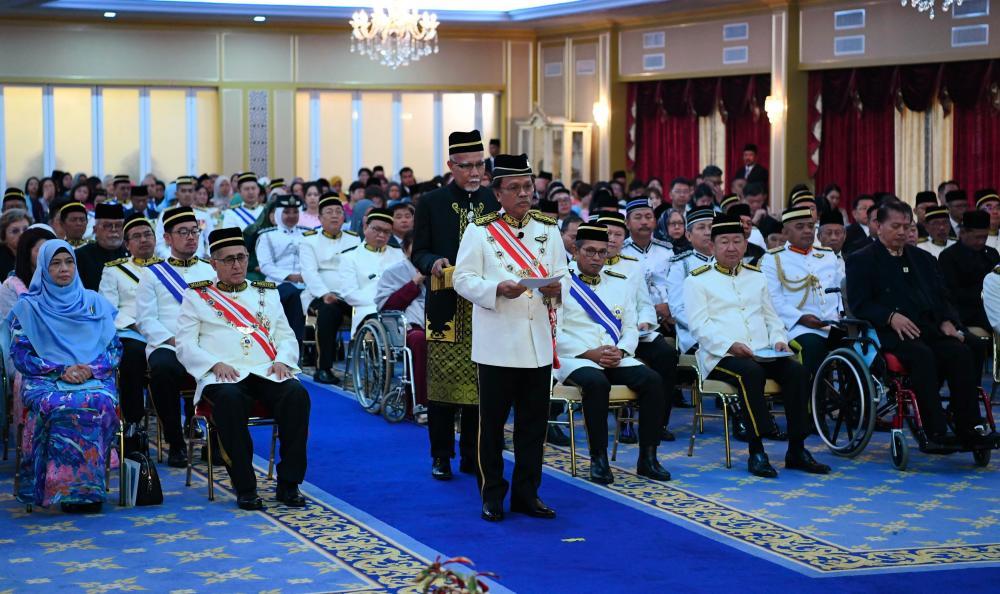 Sabah Chief Minister Datuk Seri Mohd Shafie Apdal gives his speech at a state banquet in conjunction with Yang di-Pertua Negeri Sabah Tun Juhar Mahiruddin's 66th birthday on Oct 6, 2019. - Bernama