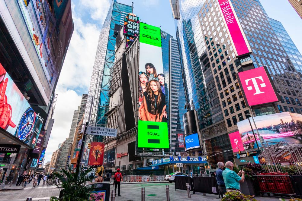 Local girl group Dolla graces New York Times Square Billboard