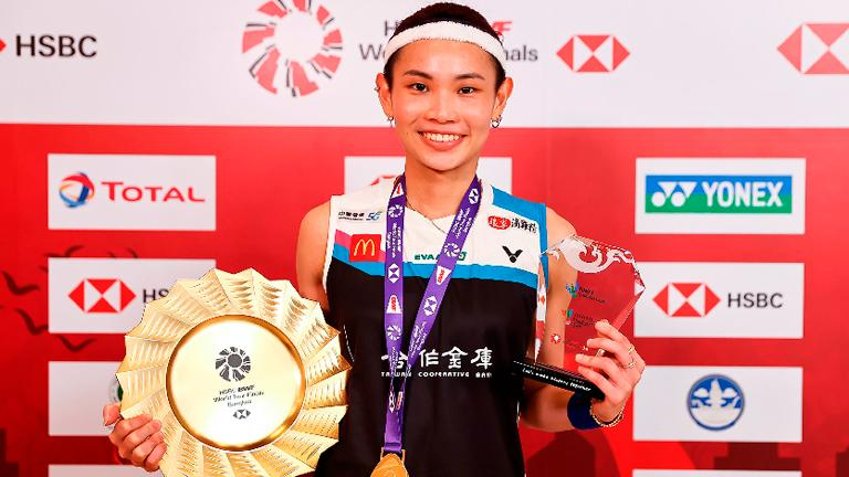 This handout from the Badminton Association of Thailand taken and released on Jan 31, 2021 shows Taiwan's Tai Tzu-ying with her winner's medal and trophy after beating Spain's Carolina Marin (not pictured) in their women's singles final at the World Tour Finals badminton tournament in Bangkok. – AFPPIX