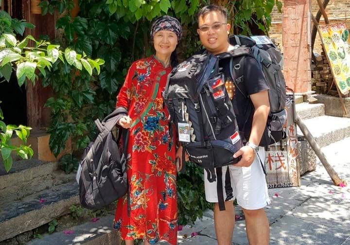 Ang Wei Zhi is pictured backpacking in China before the pandemic, an activity he really misses.