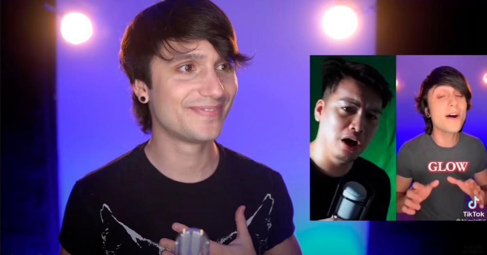 Youtuber David Michael Frank was impressed by Fanzi Ruji's vocal performance in the #HeartAttackChallenge, as seen in this screengrab from his video announcing him as the winner.
